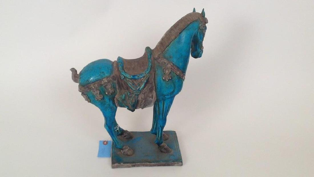 MODERN BLUE CHINESE CERAMIC HORSE - 3
