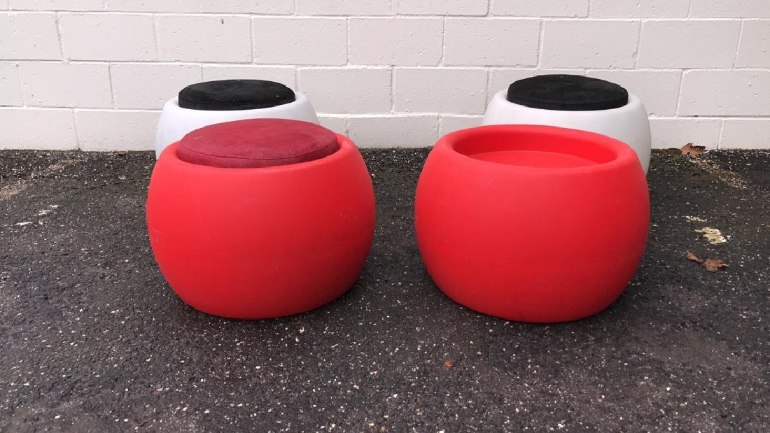(4) ILLUMINATED PATIO STOOLS/TABLES
