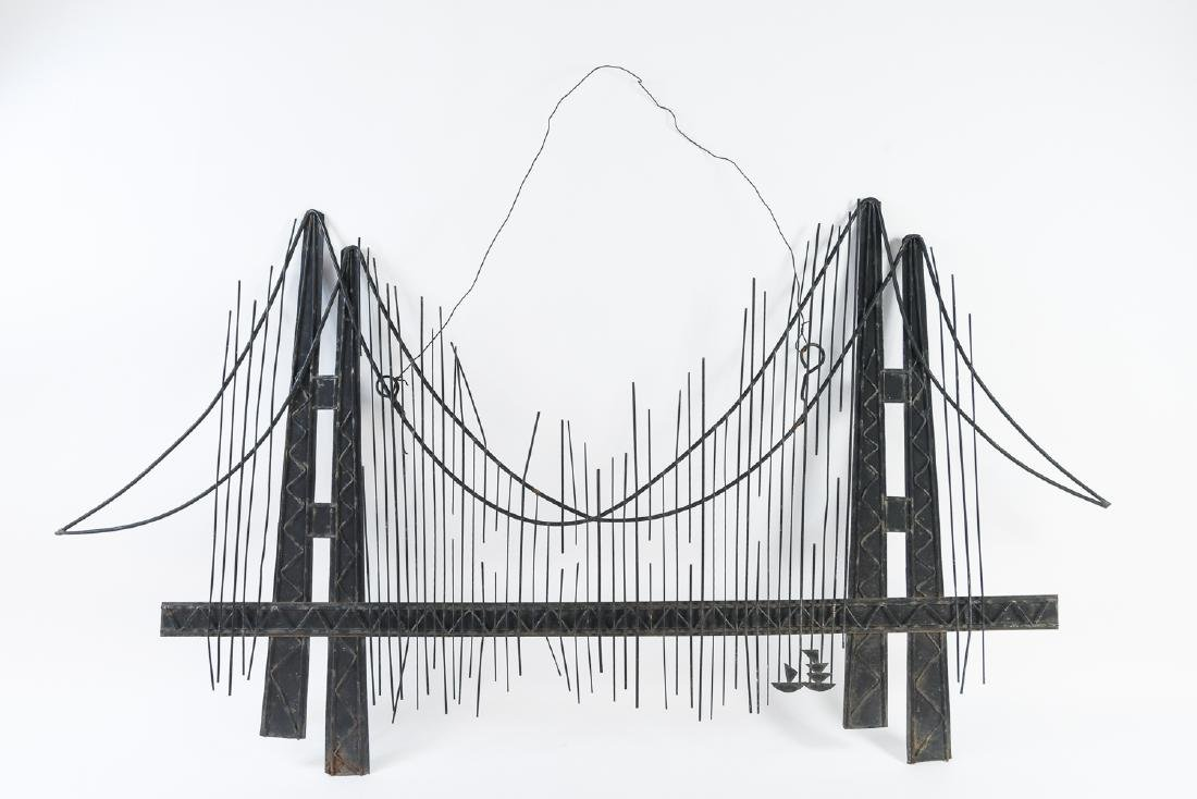 C. JERE MID-CENTURY METAL BRIDGE WALL SCULPTURE