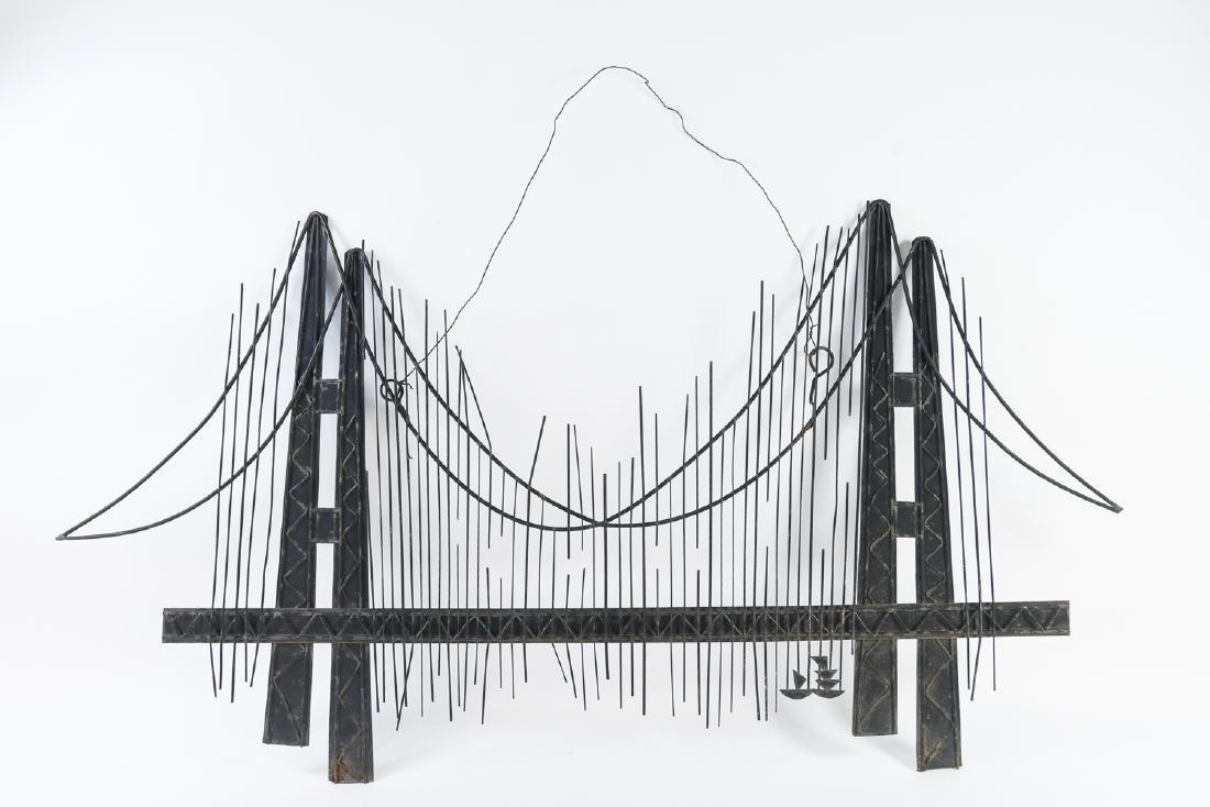 C. JERE MID-CENTURY METAL BRIDGE WALL SCULPTURE