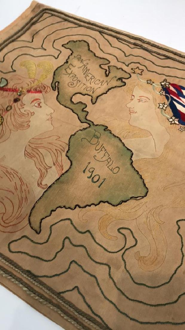 1901 WORLDS FAIR EMBROIDERED PILLOW COVER - 3