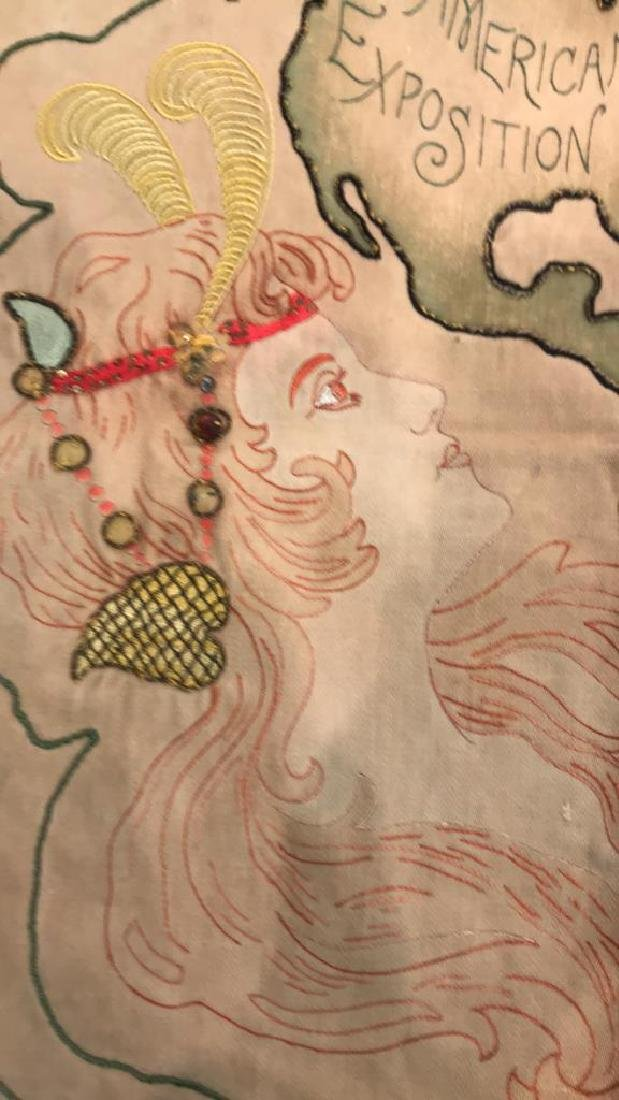 1901 WORLDS FAIR EMBROIDERED PILLOW COVER - 7
