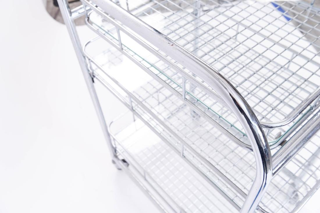 CHROME ROLLING SERVING CART - 10