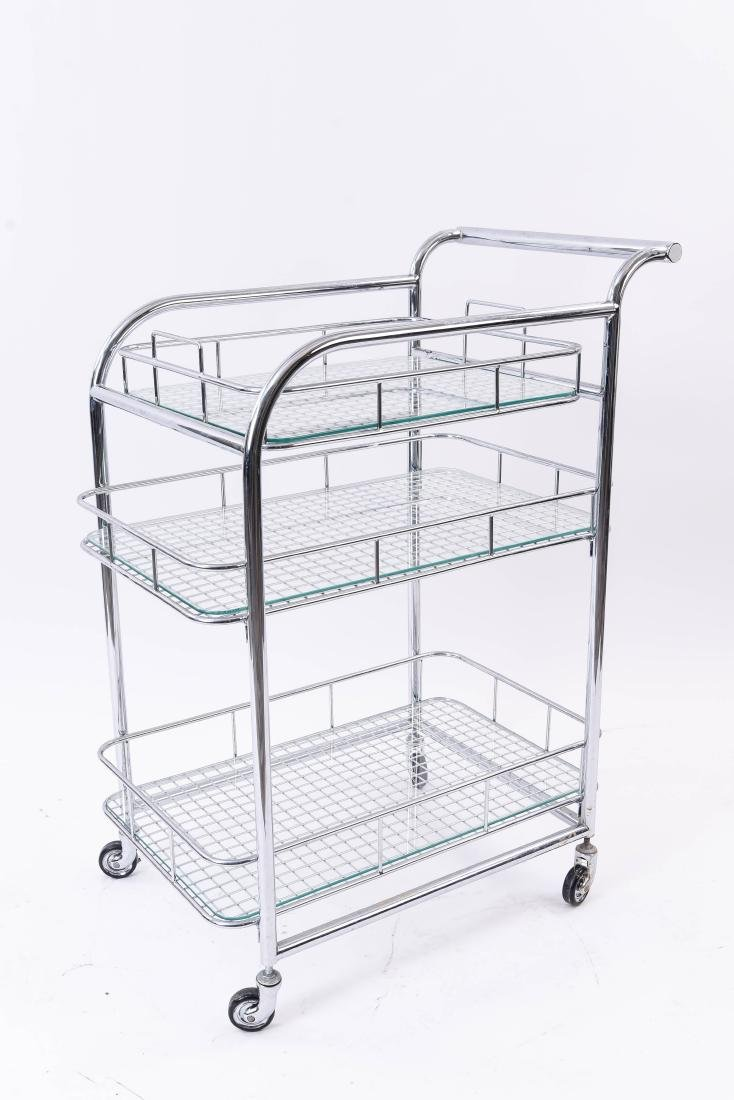 CHROME ROLLING SERVING CART