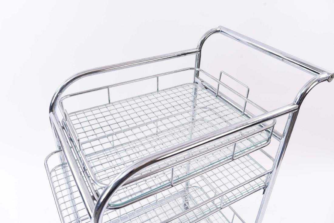 CHROME ROLLING SERVING CART - 2