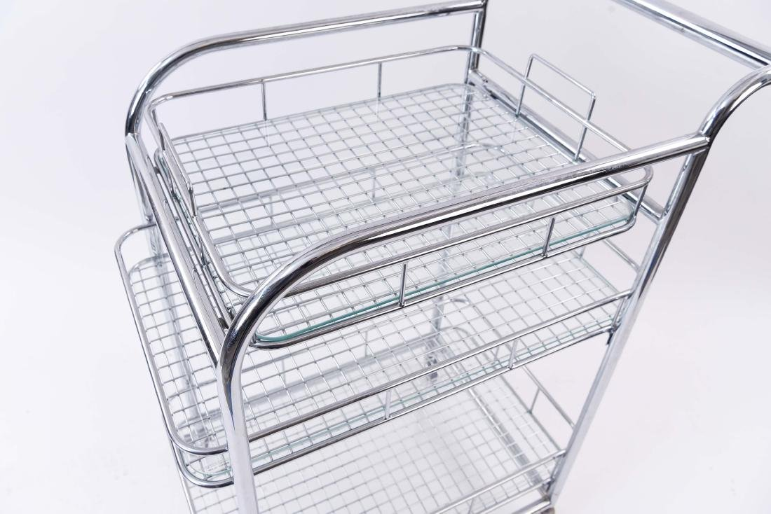 CHROME ROLLING SERVING CART - 3