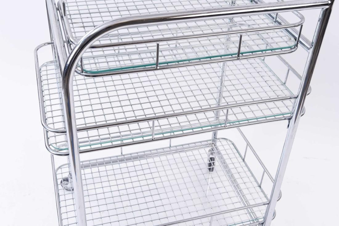 CHROME ROLLING SERVING CART - 4