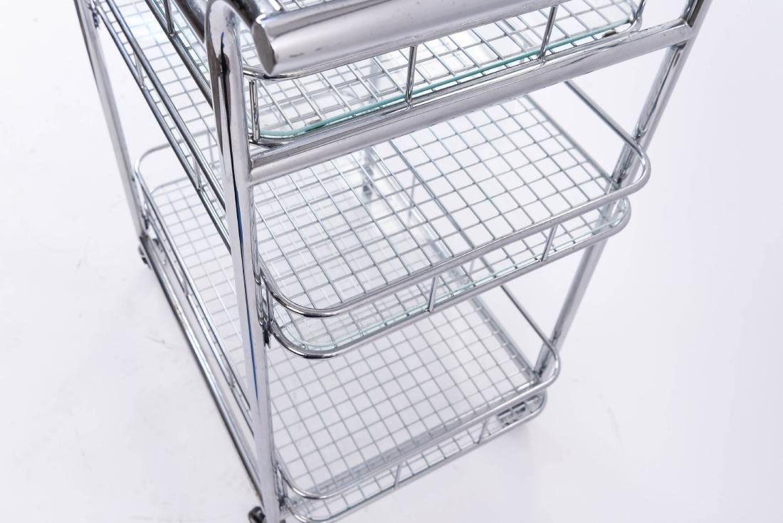 CHROME ROLLING SERVING CART - 7