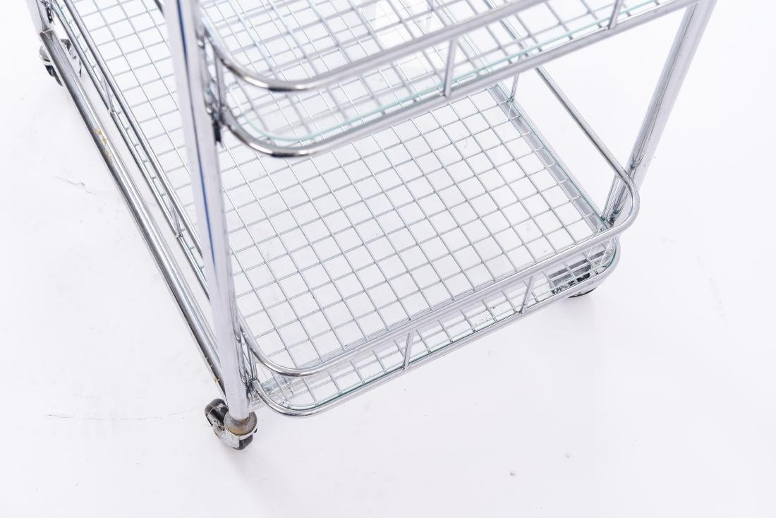 CHROME ROLLING SERVING CART - 8