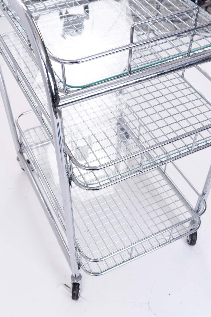 CHROME ROLLING SERVING CART - 9