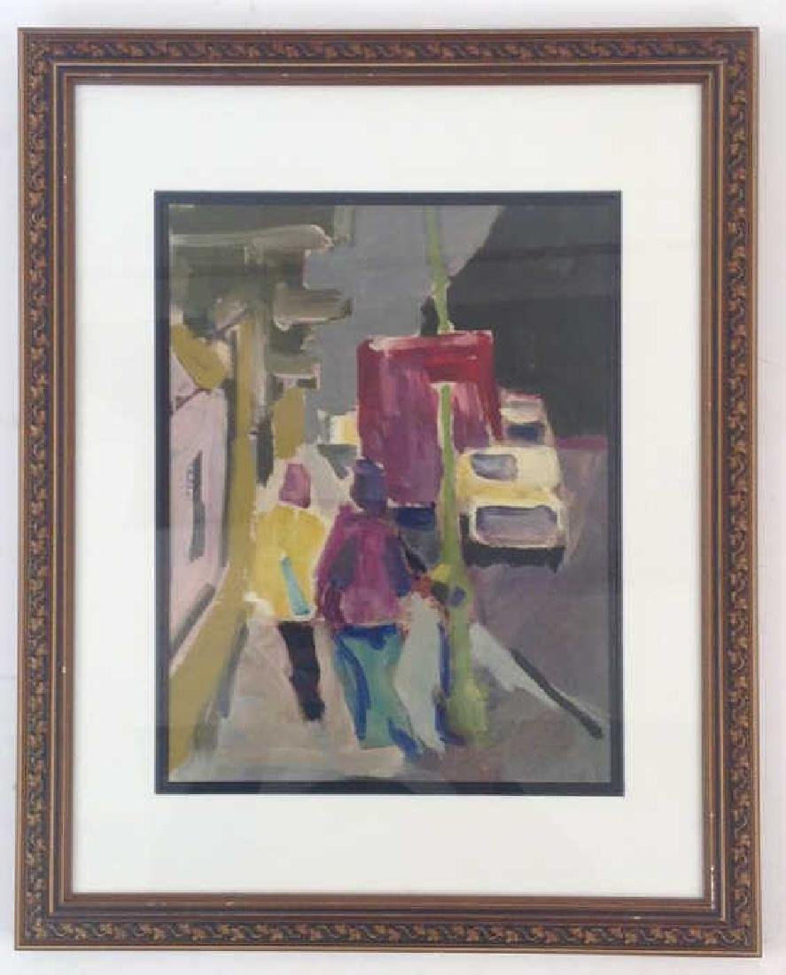 ABSTRACT FIGURATIVE STREET SCENE UNSIGNED