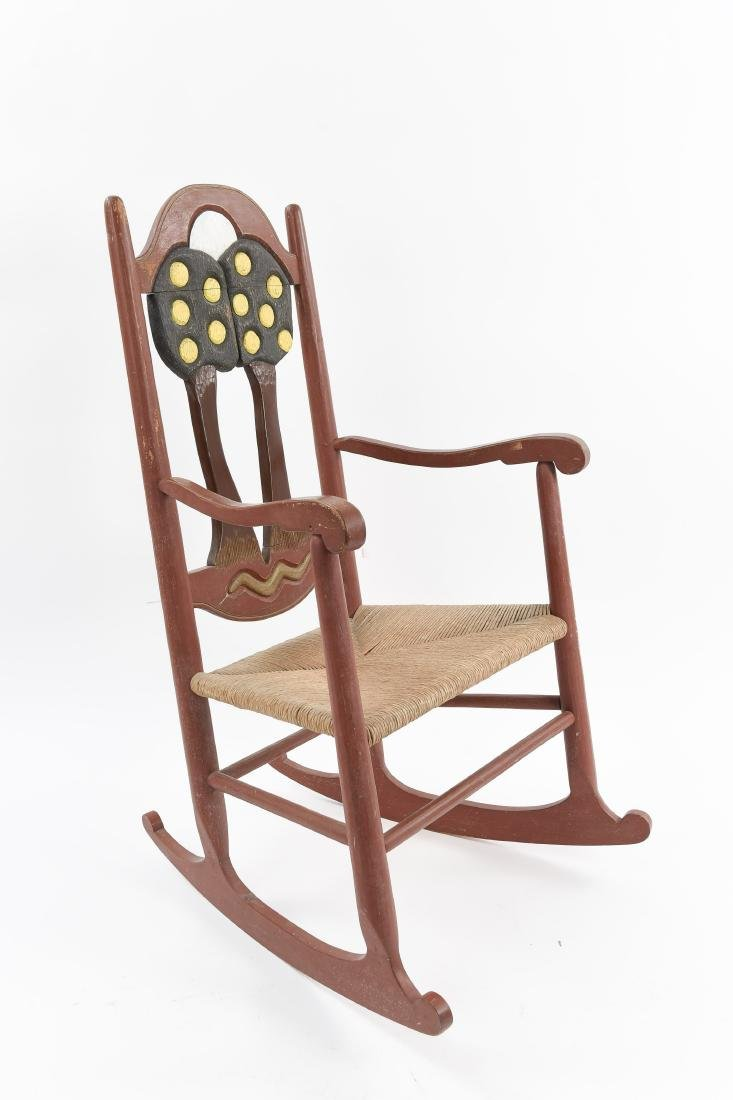 VINTAGE FOLK ART ARTIST CARVED ROCKER