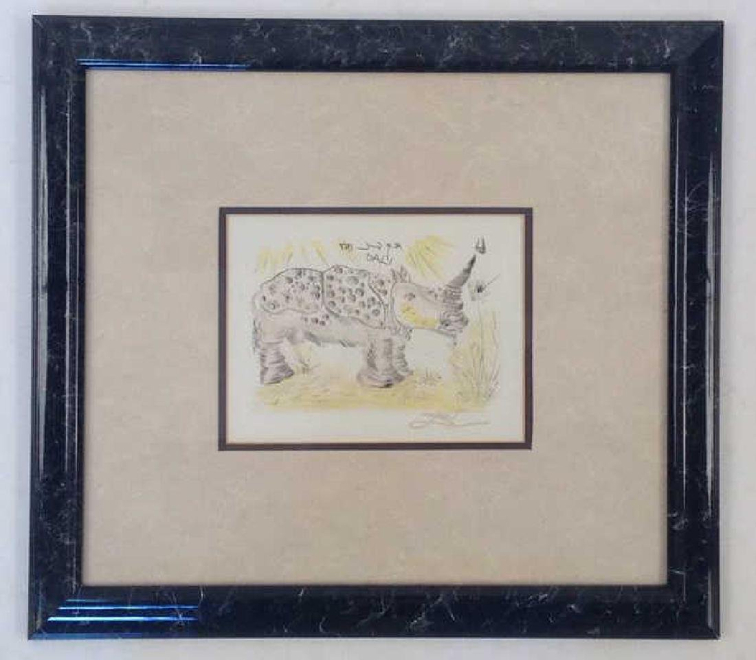 SALVADOR DALI ETCHING OF RHINO