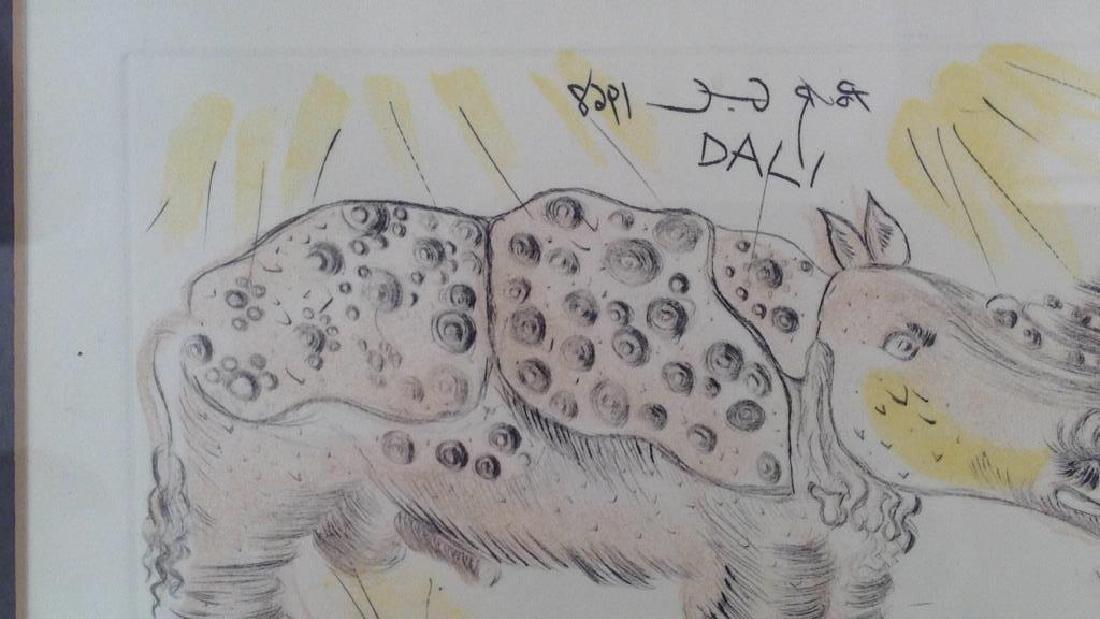 SALVADOR DALI ETCHING OF RHINO - 4