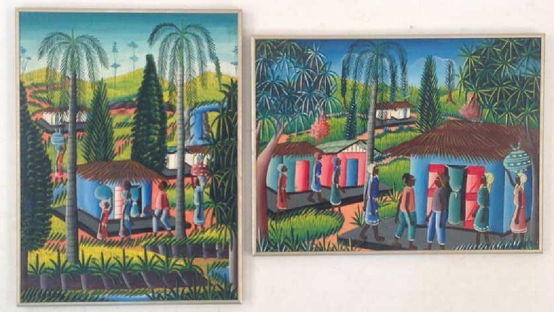PAIR HAITIAN PAINTINGS SIGNED ETIENNE