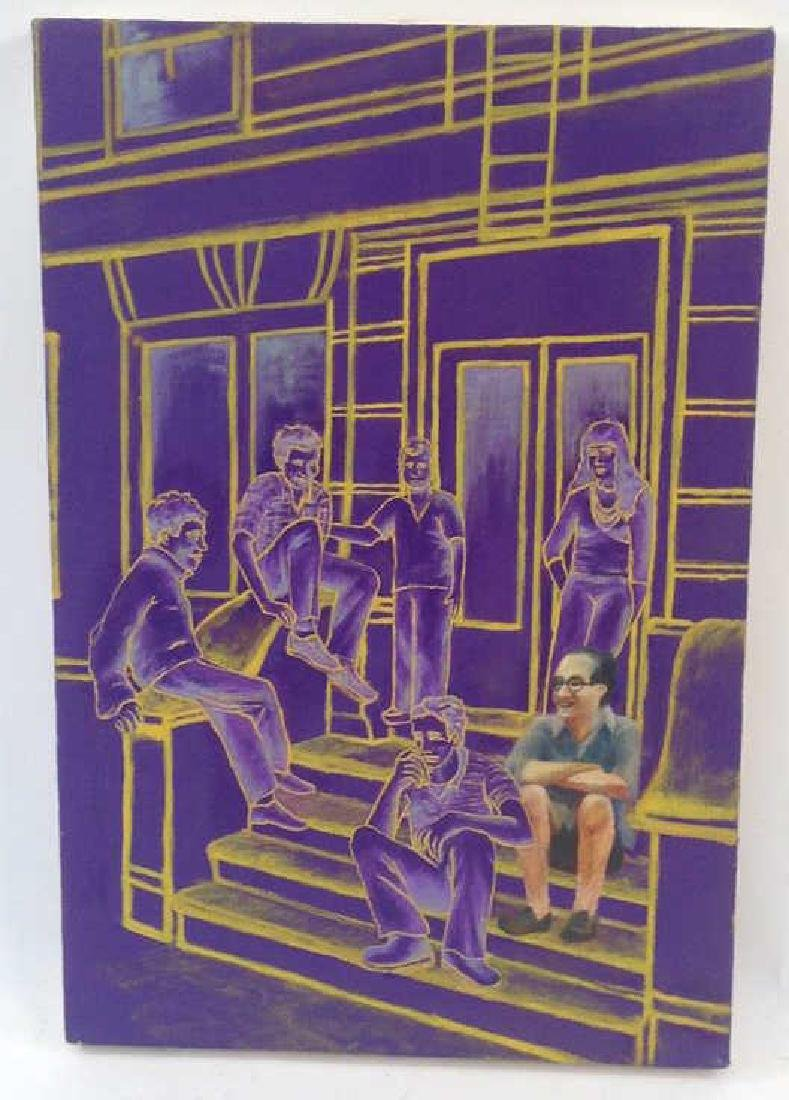 CONTEMPORARY ACRYLIC ON CANVAS OF FIGURES ON STOOP