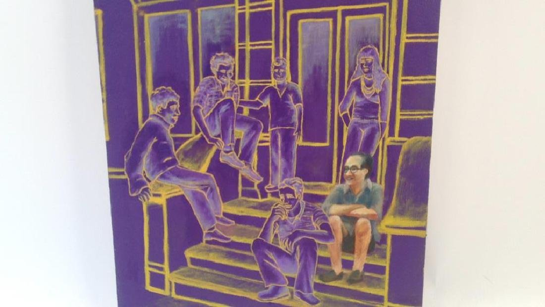 CONTEMPORARY ACRYLIC ON CANVAS OF FIGURES ON STOOP - 3