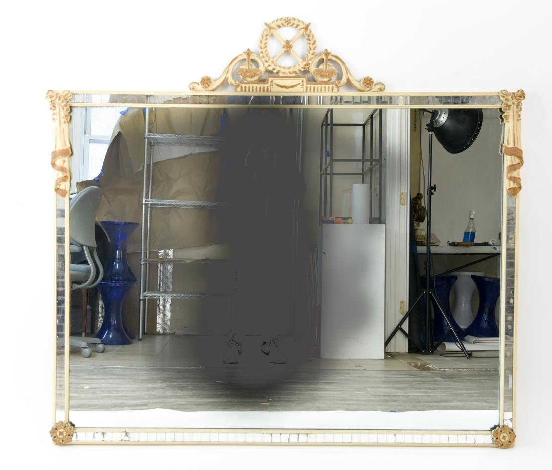 PAINTED AND CARVED INSET WOOD MIRROR