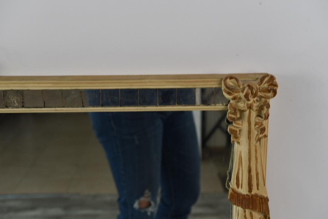 PAINTED AND CARVED INSET WOOD MIRROR - 7