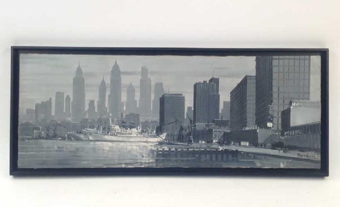 SIGNED MID CENTURY O/C NEW YORK HARBOR