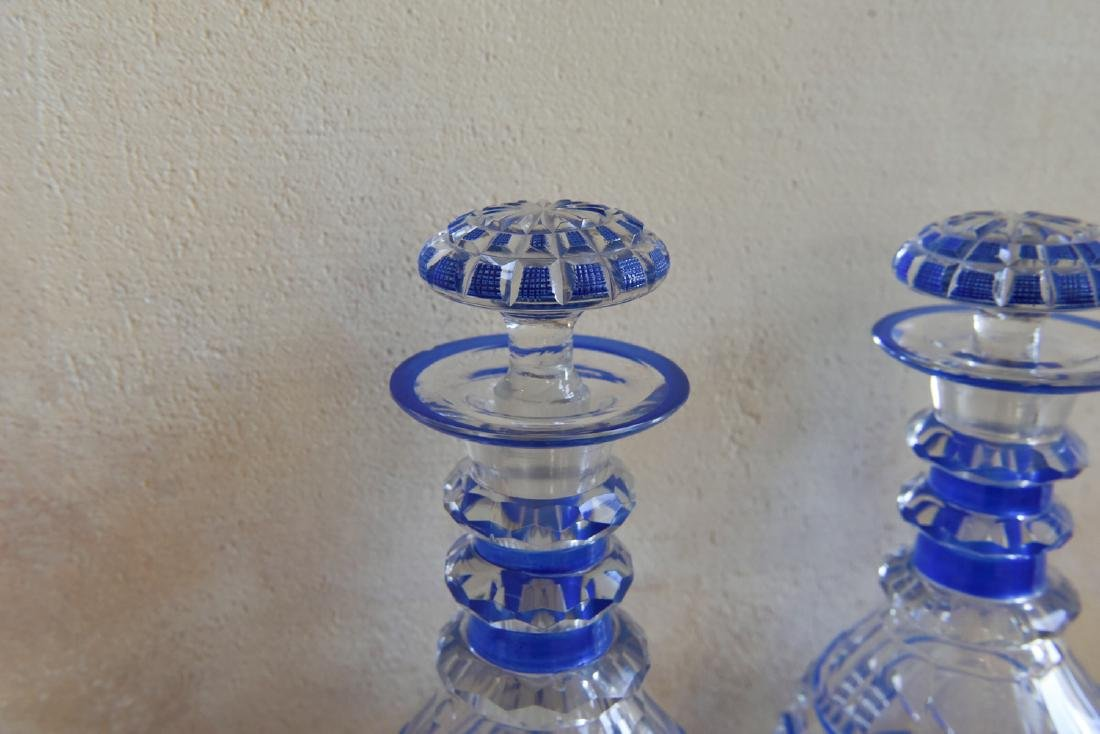 PAIR OF CUT TO CLEAR DECANTERS - 2