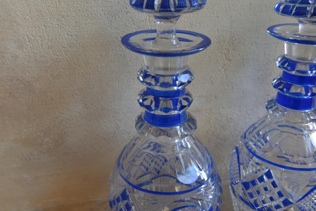 PAIR OF CUT TO CLEAR DECANTERS - 3