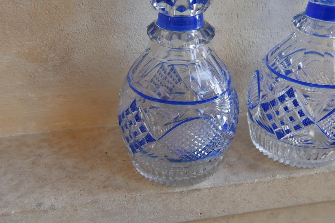 PAIR OF CUT TO CLEAR DECANTERS - 4