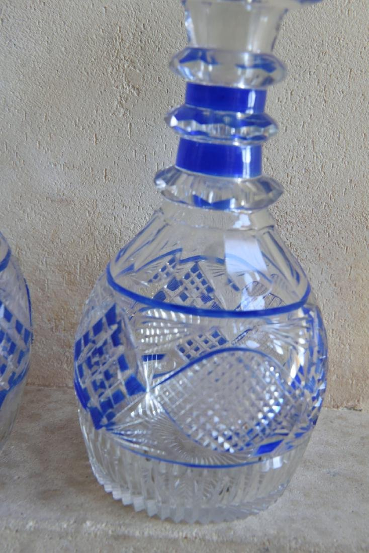 PAIR OF CUT TO CLEAR DECANTERS - 5