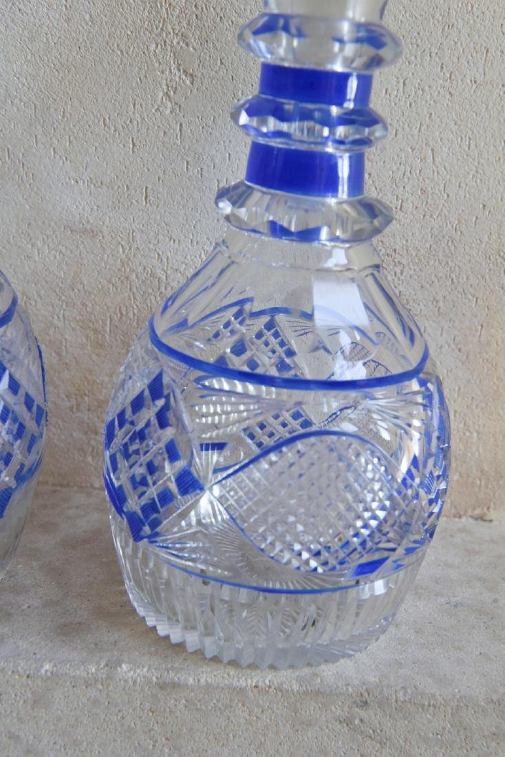 PAIR OF CUT TO CLEAR DECANTERS - 6
