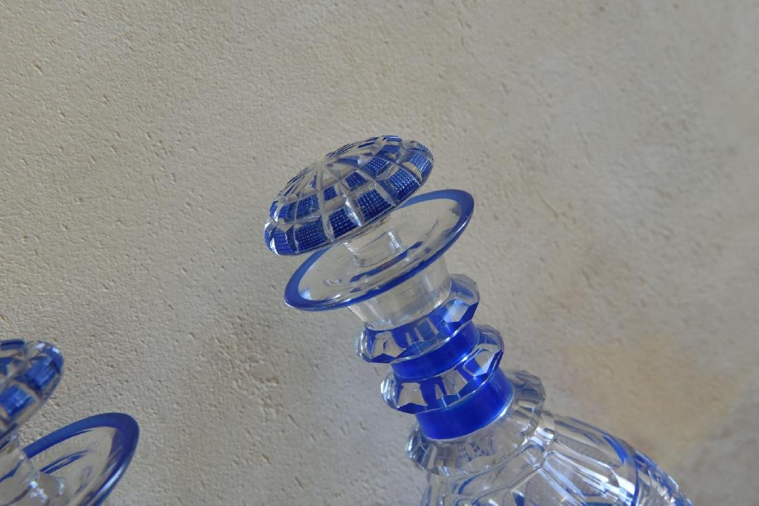 PAIR OF CUT TO CLEAR DECANTERS - 7