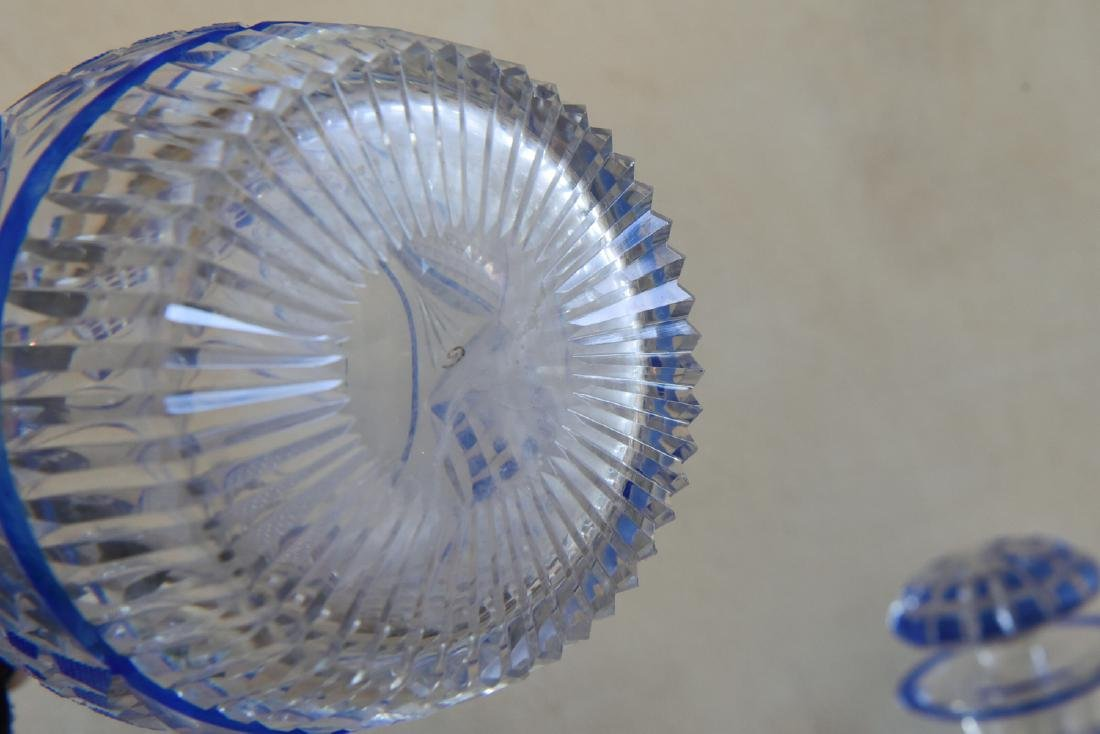 PAIR OF CUT TO CLEAR DECANTERS - 8