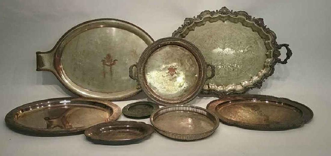 GROUPING OF TRAYS INCL. SILVERPLATE