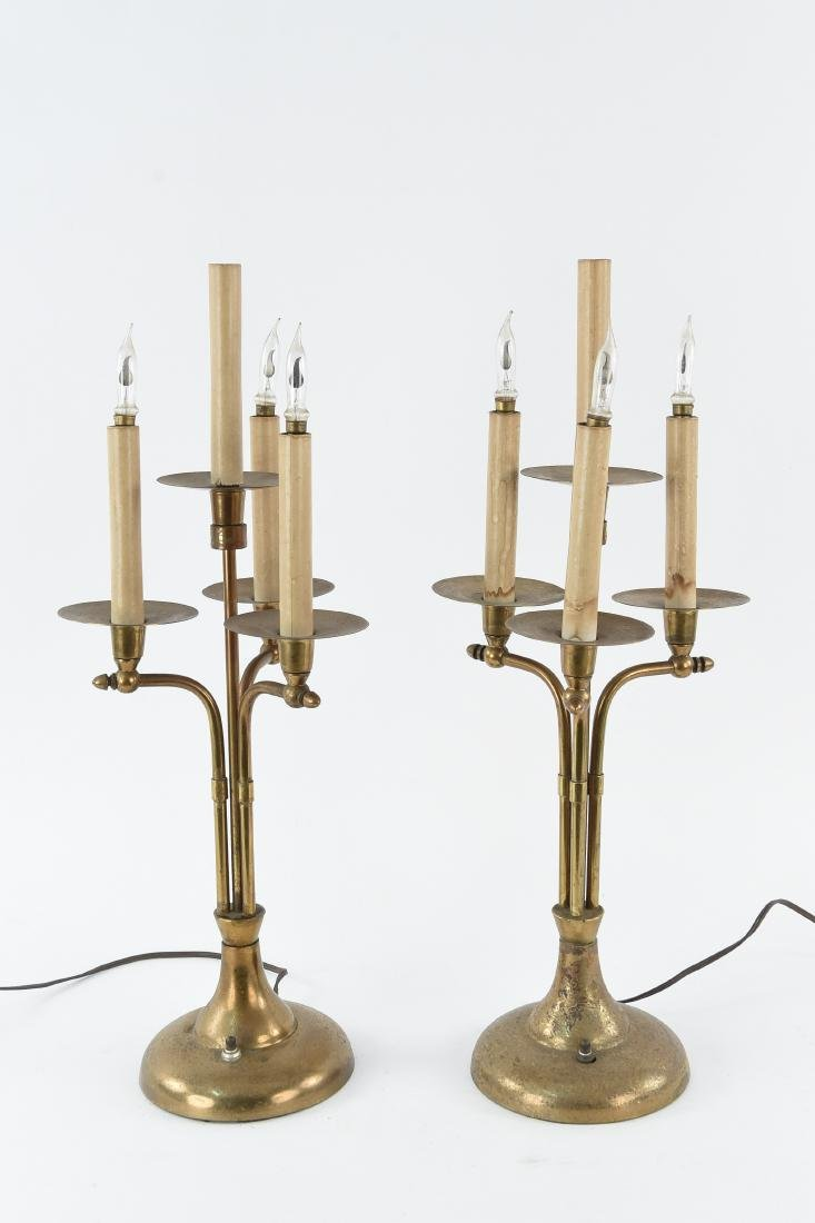 PAIR OF BRASS CANDELABRA FORM TABLE LAMPS