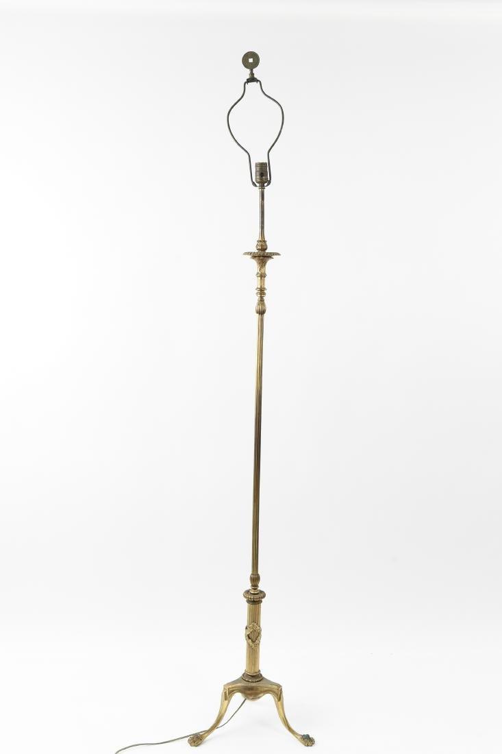 CREST CO. GILT BRONZE AMERICAN FLOOR LAMP