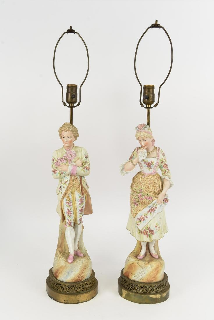 ANTIQUE PAINTED PORCELAIN FIGURAL LAMPS