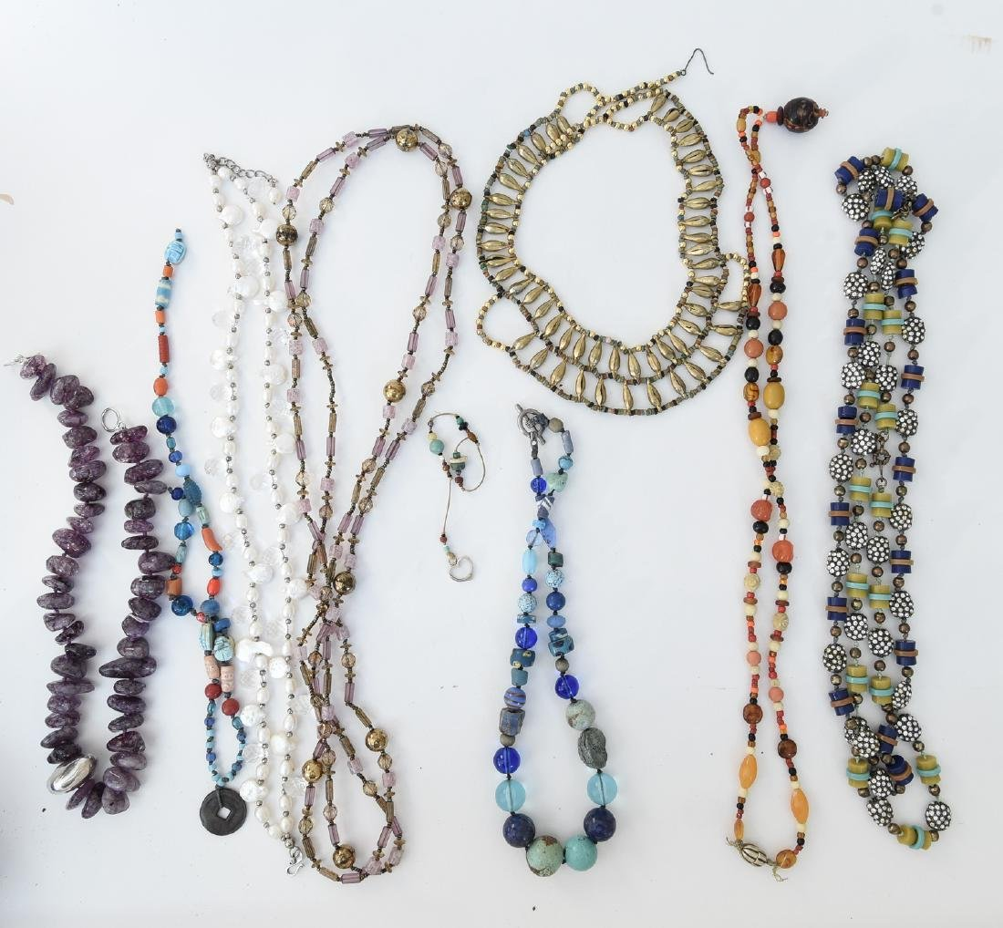 GROUPING OF STONE NECKLACES