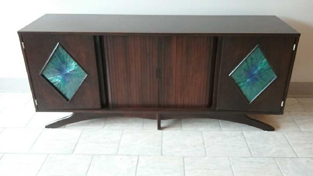 MID-CENTURY SCULPTURAL STAINED GLASS CREDENZA - 11