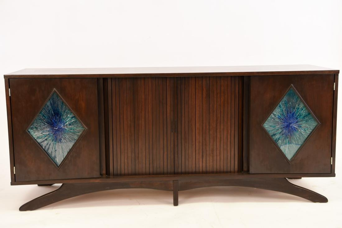 MID-CENTURY SCULPTURAL STAINED GLASS CREDENZA