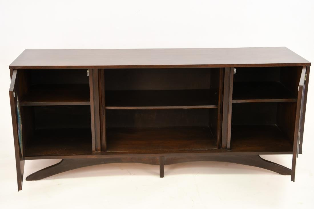 MID-CENTURY SCULPTURAL STAINED GLASS CREDENZA - 2
