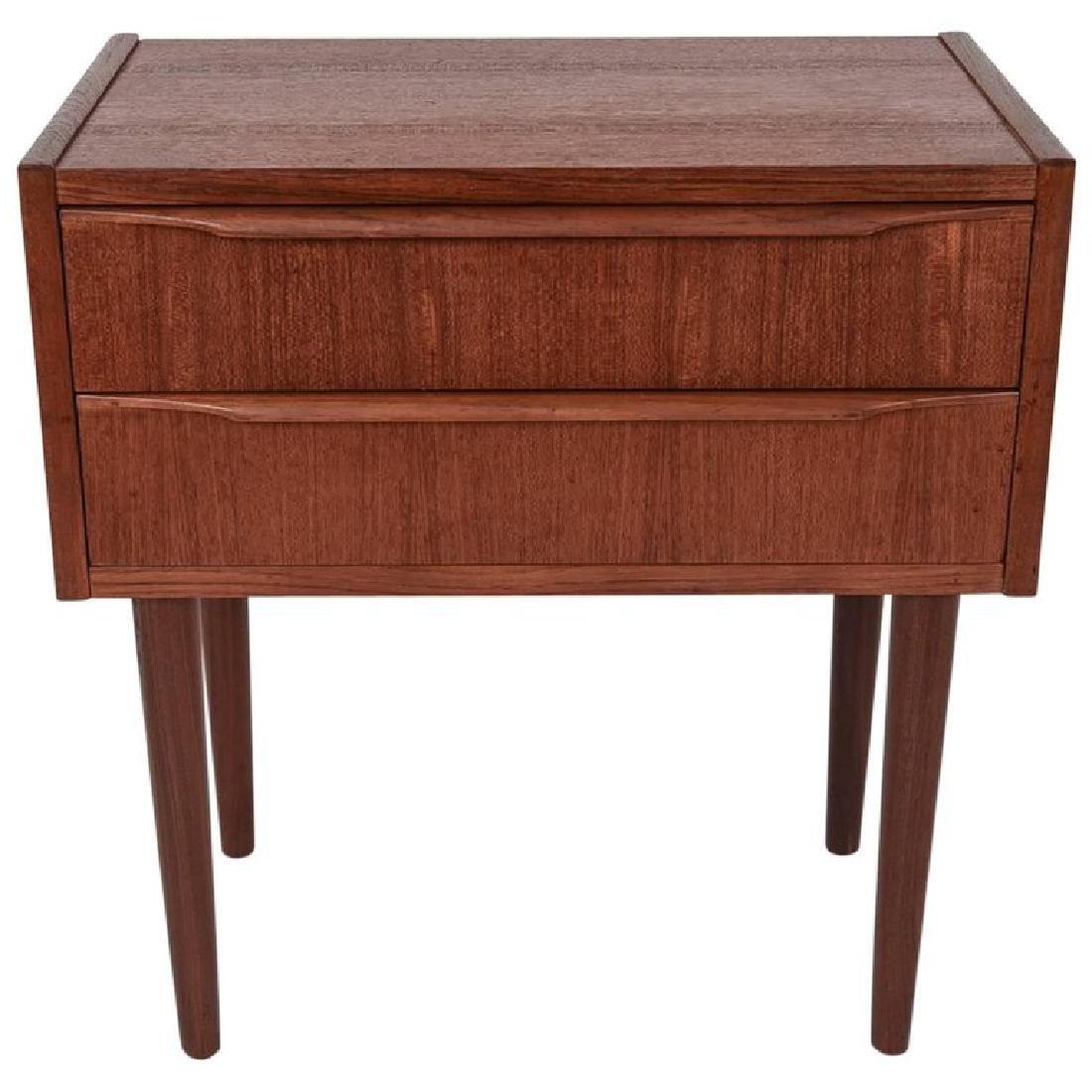 DANISH MID-CENTURY TWO-DRAWER TEAK SIDE TABLE