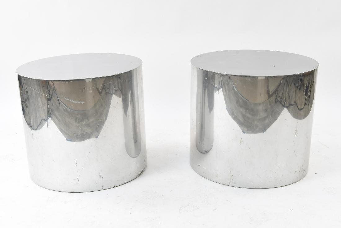 PAIR PAUL MAYAN FOR HABITAT DRUM END TABLES