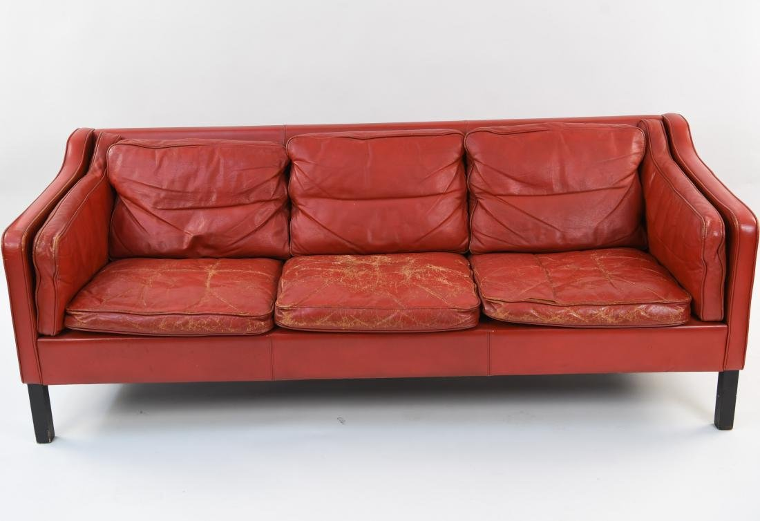 BORGE MOGENSEN STYLE RED LEATHER MID-CENTURY SOFA