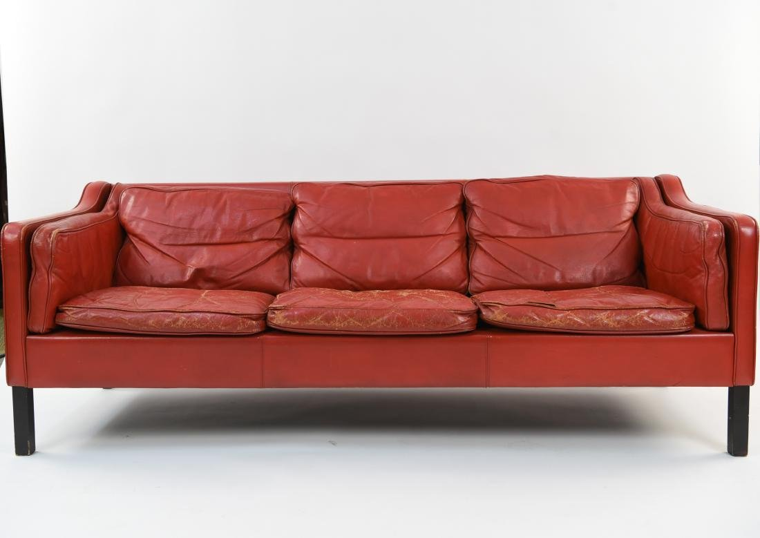 BORGE MOGENSEN STYLE RED LEATHER MID-CENTURY SOFA - 2