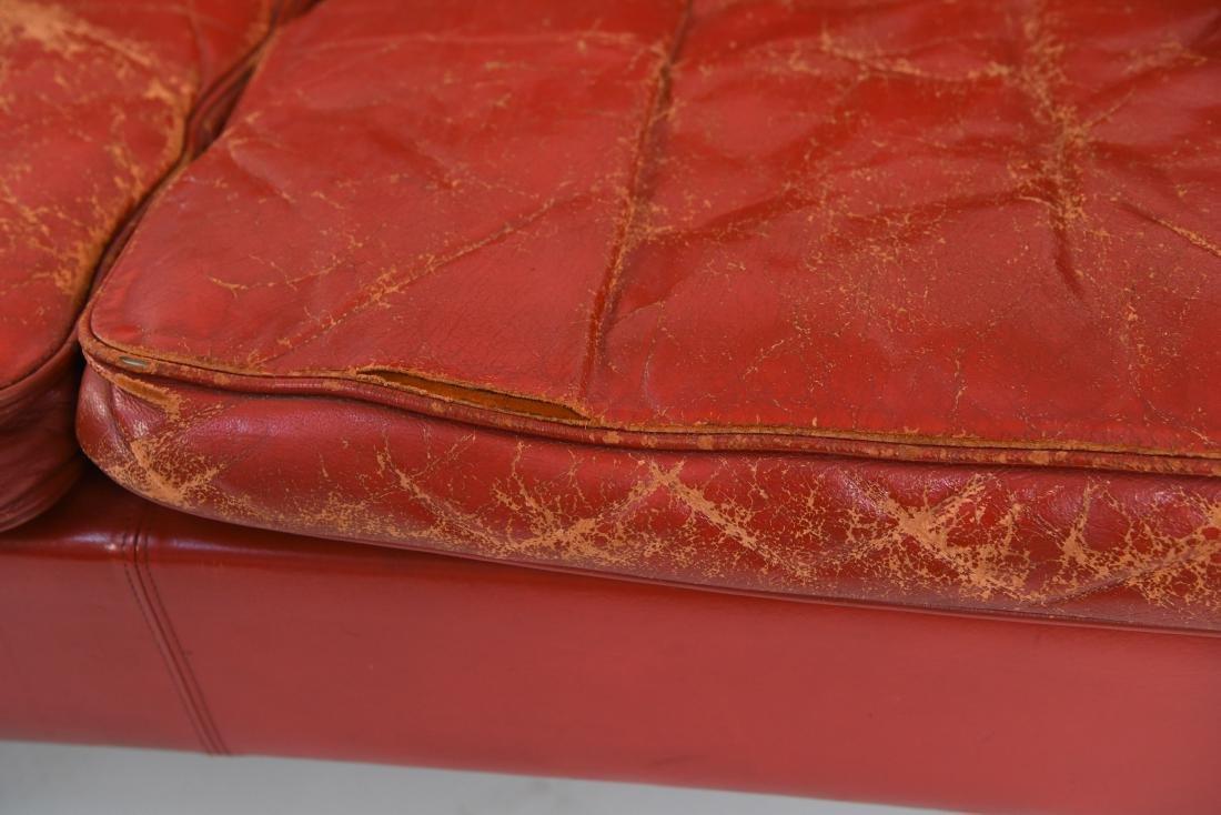 BORGE MOGENSEN STYLE RED LEATHER MID-CENTURY SOFA - 3