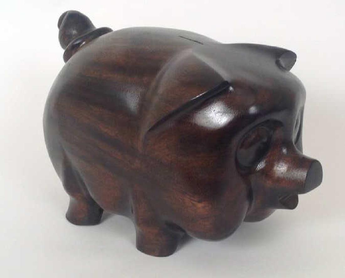 VINTAGE WOODEN PIGGY BANK