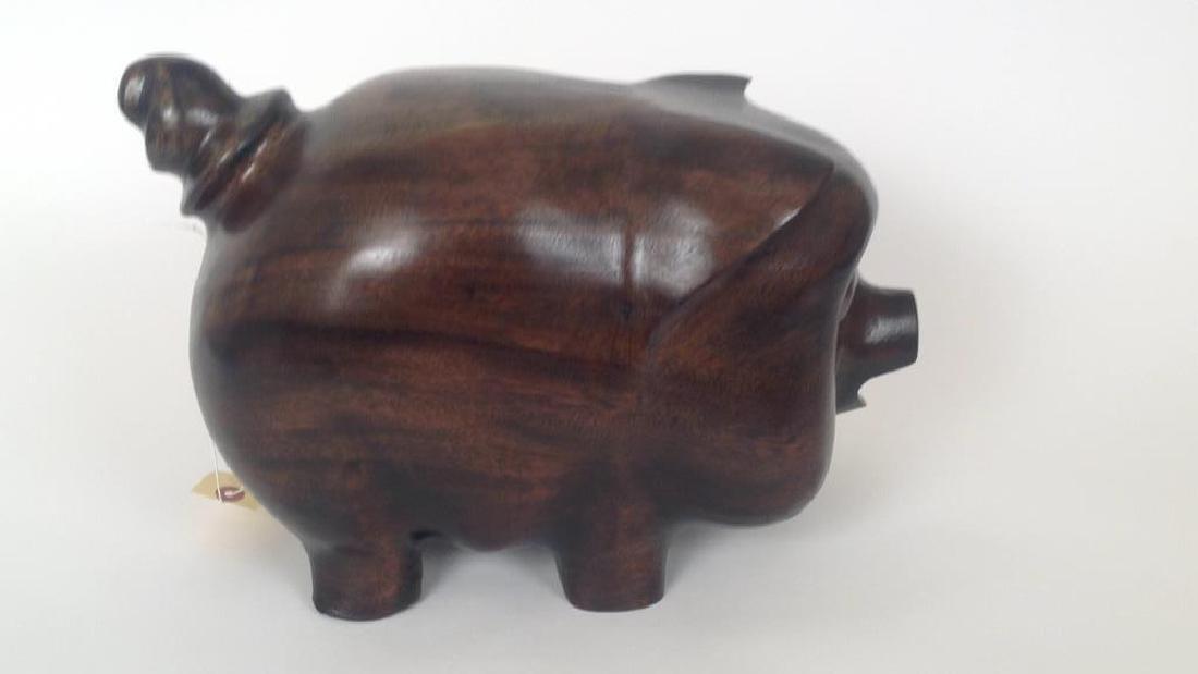 VINTAGE WOODEN PIGGY BANK - 2