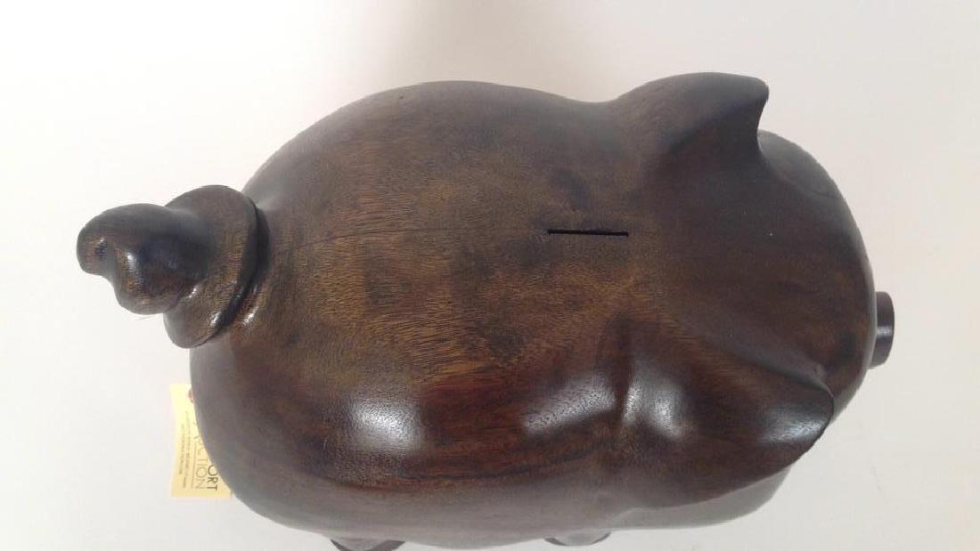 VINTAGE WOODEN PIGGY BANK - 4