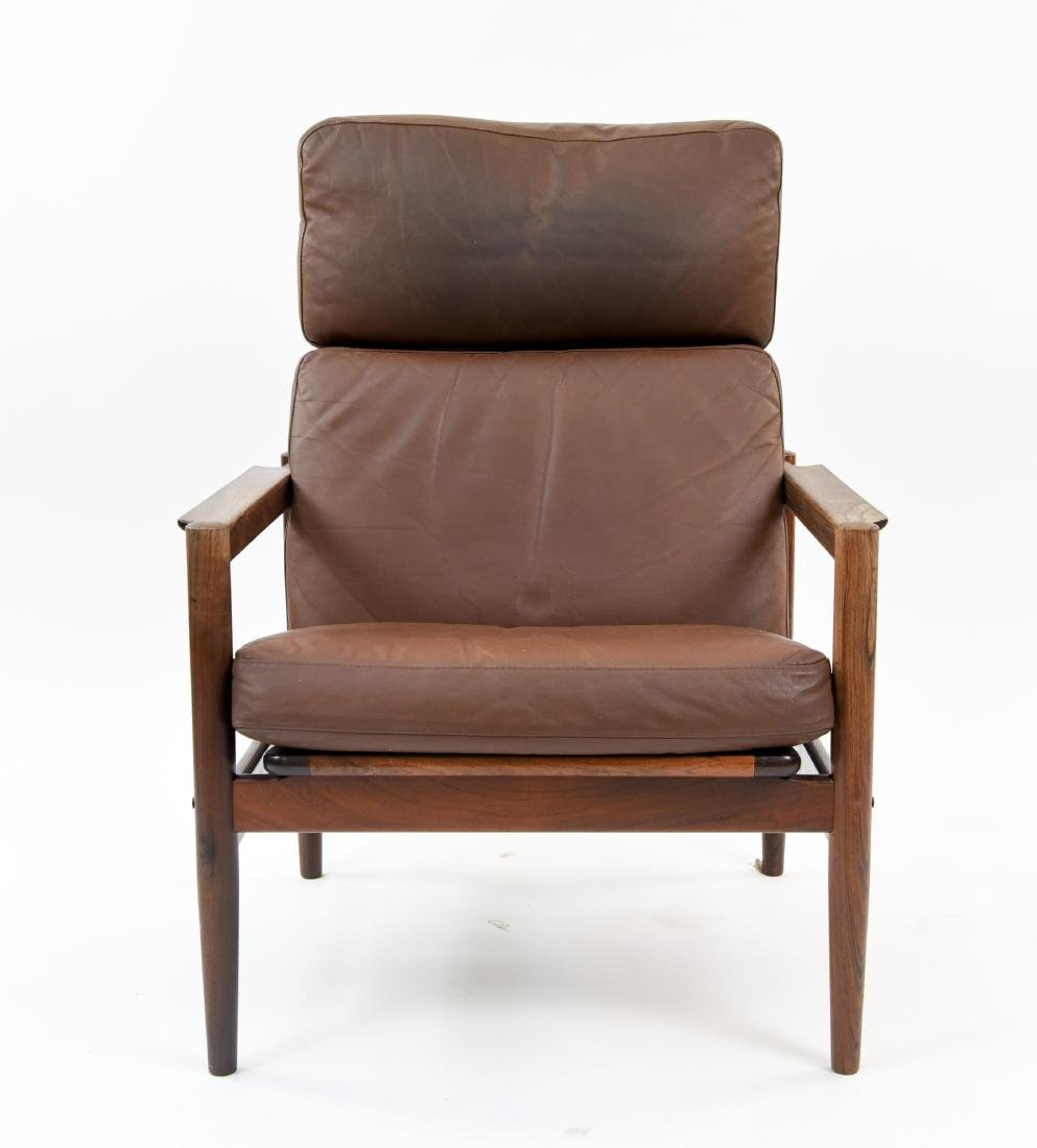 ARNE VODDER STYLE LEATHER & ROSEWOOD LOUNGE CHAIR - 3