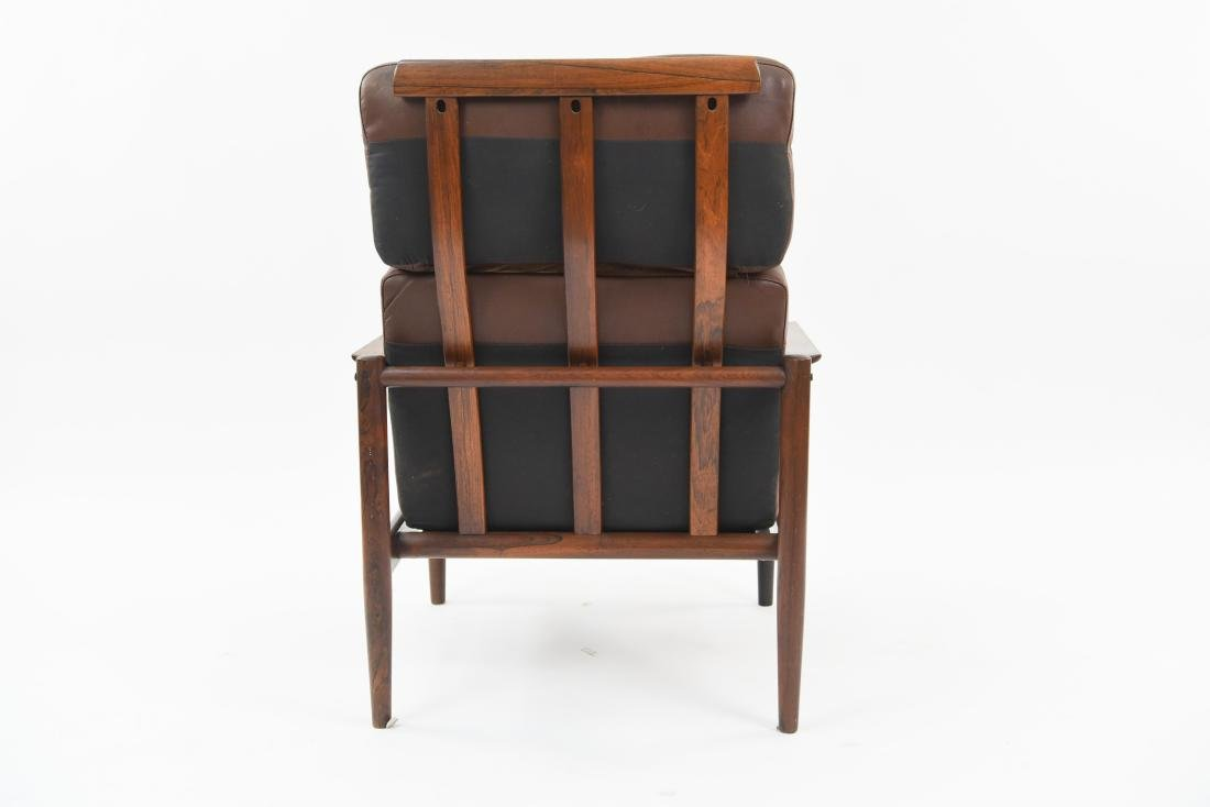 ARNE VODDER STYLE LEATHER & ROSEWOOD LOUNGE CHAIR - 4