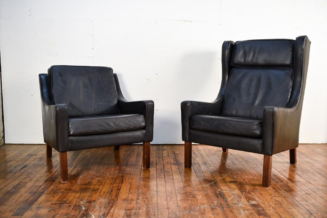 (2) VEMB POSTER MOBELFABRIK BLACK LEATHER CHAIRS